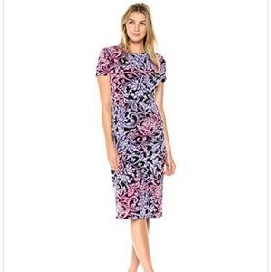 London Times Flemish Scroll Short Sleeve Dress